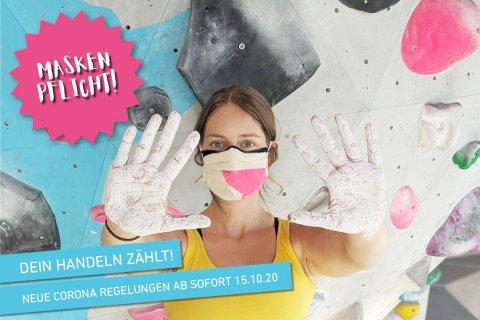 Neue Corona Regelungen ab 15.10.20 in der Boulderwelt Dortmund. Ab sofort gilt es MASKE TRAGEN ÜBERALL außer an der Wand. Mehr dazu im Artikel.