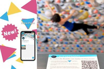 Mehr Spaß an der Definierwand mit der kostnelosen Retro Flash App in der Boulderwelt Dortmund