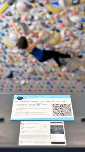 Infoständer - Mehr Spaß an der Definierwand mit der Retro Flash App in der Boulderwelt Dortmund
