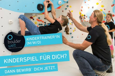 Boulderwelt sucht Kindertrainer Stellenausschreibung Job KLettern